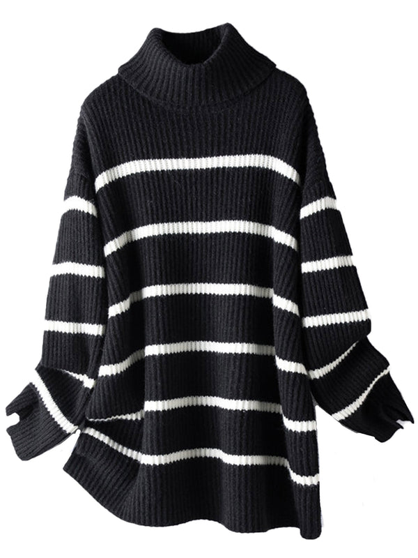 'Lena' Roll Neck Ribbed Striped Sweater (2 Colors)