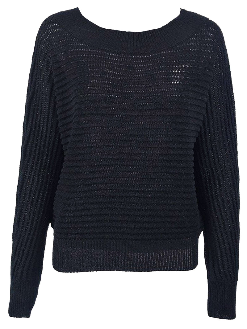 'Melissa' Round Neck Horizontal Ribbed Lightweight Sweater(4 Colors)