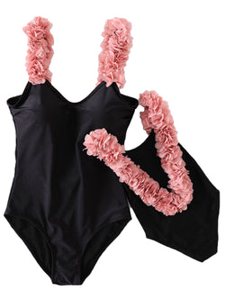 'Eve' Pink Feather Trim Swimsuit