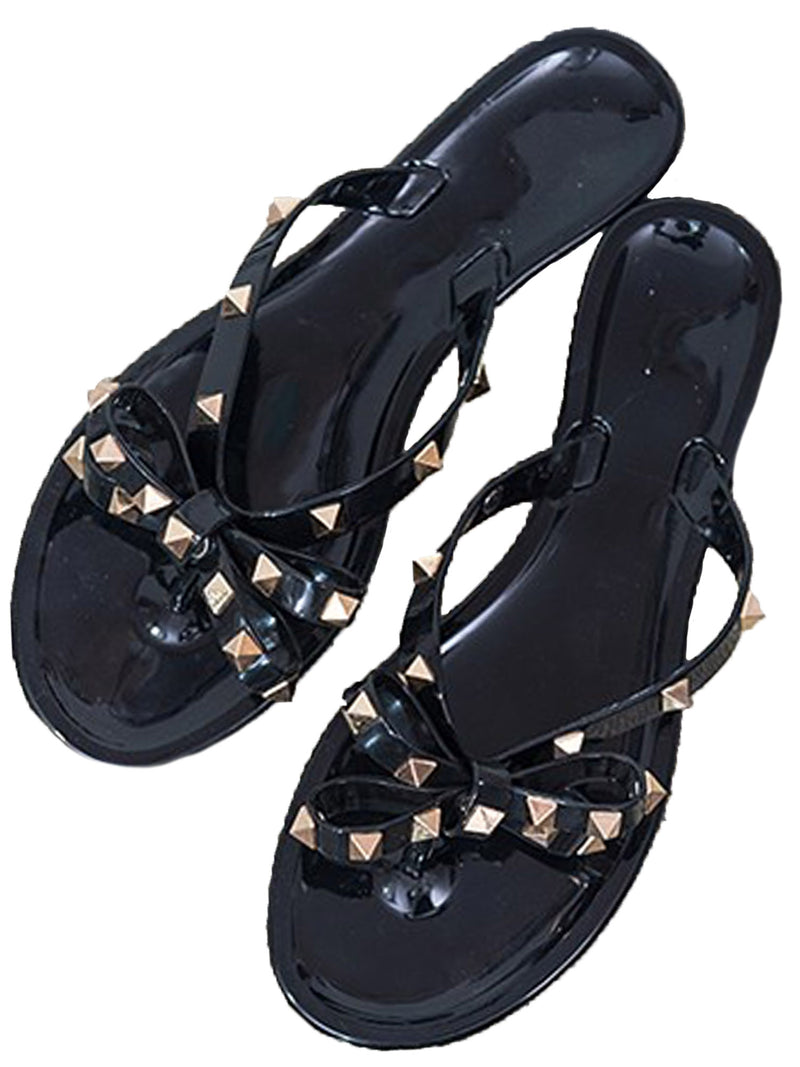 'Bailey' Studded Ribbon Rubber Sandals (2 Colors)