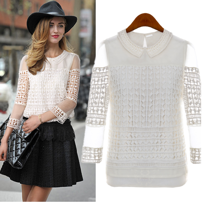 Peter Pan Collar Crochet Lace Mesh Sleeved Blouse - Goodnight Macaroon