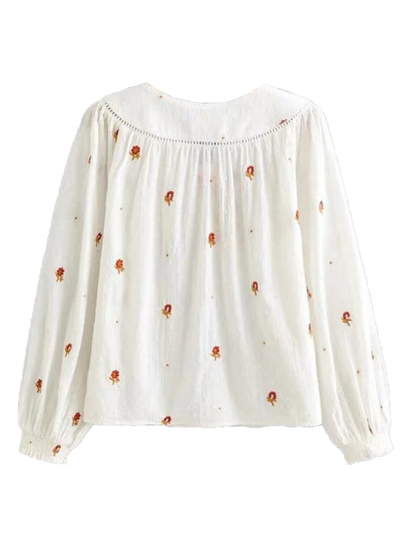 'Gemma' Embroidered Dotted Tie Neck Blouse