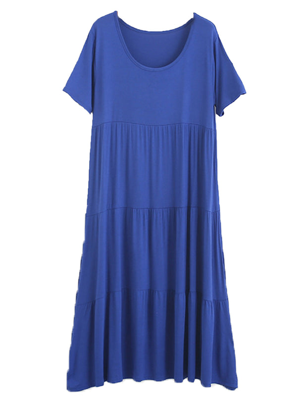 'Gabriella' Round Neck Short Sleeves Modal Cotton Maxi Dress (7 Colors)