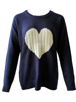 'Elina' Cable Knit Heart Crewneck Sweater (3 Colors)