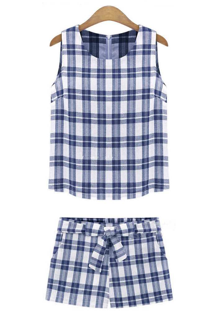 Blue / Black Plaid Sleeveless Top & Tied Waist Shorts Co-Ord Set - Goodnight Macaroon