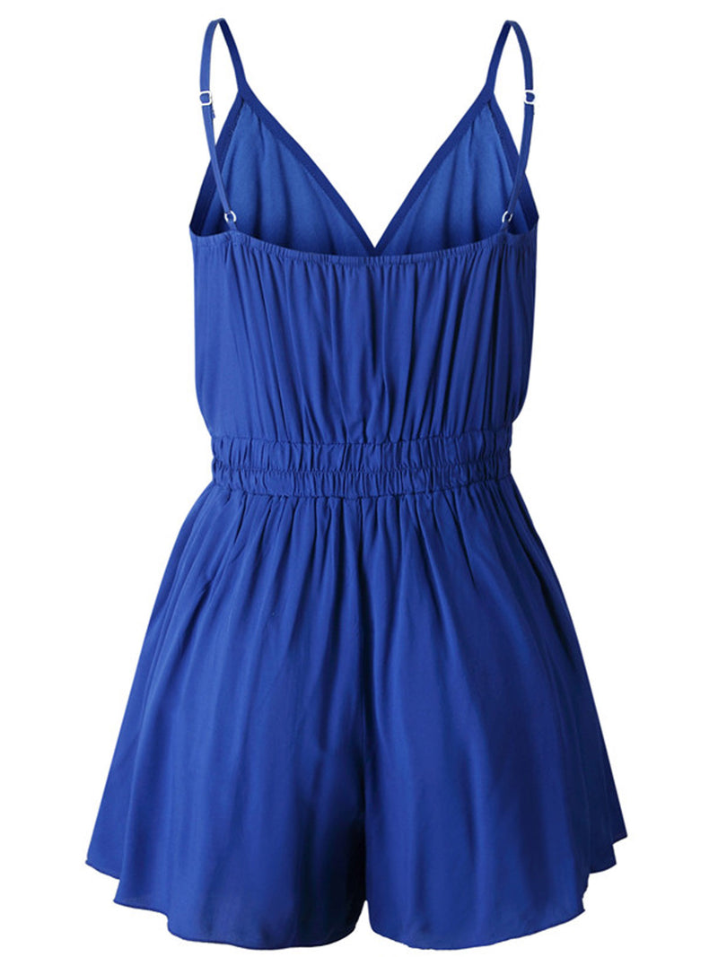 'Jolina' V Neck Wrap Front Tied Waist Strap Romper (3 Colors)