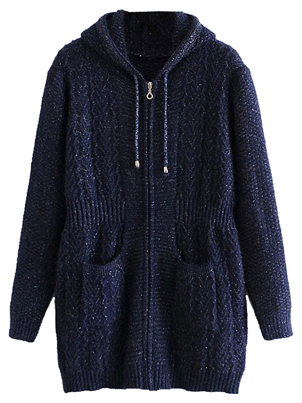'Lindsey' V-knit Pattern Zip Up Cardigan with Hood (2 Colors)