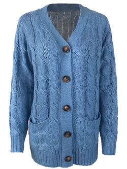 'Gemma' Cable Knit V-neck Button Down Cardigan with Pockets (8 Colors)