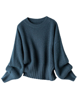'Lowa' Round Neck Ribbed Short Sweater (2 Colors)