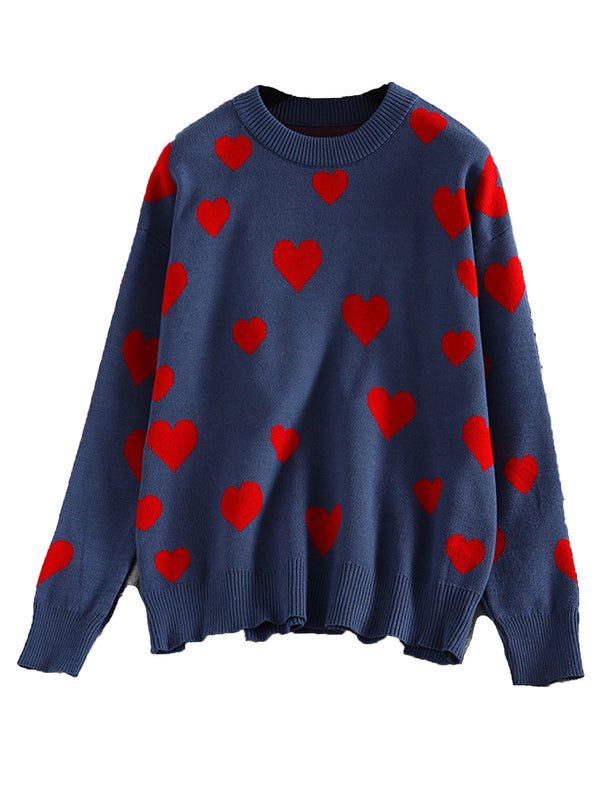 'Paige' Heart Pattern Sweater (2 Colors)