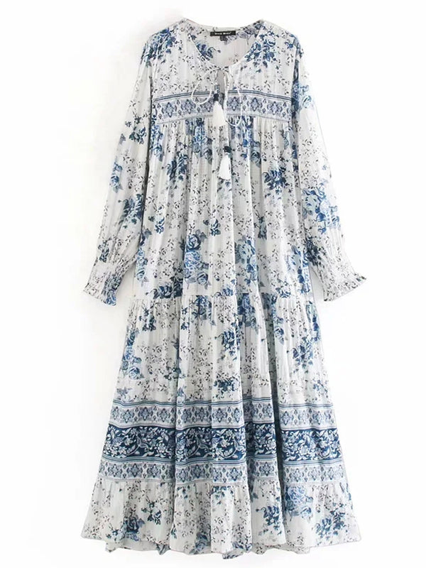 'Fion' Tassel Tie Neck Blue Floral Maxi Dress