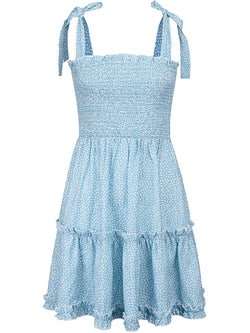 'Harmony' Tie Strap Ruched Spotted Flare Mini Dress (3 Colors)