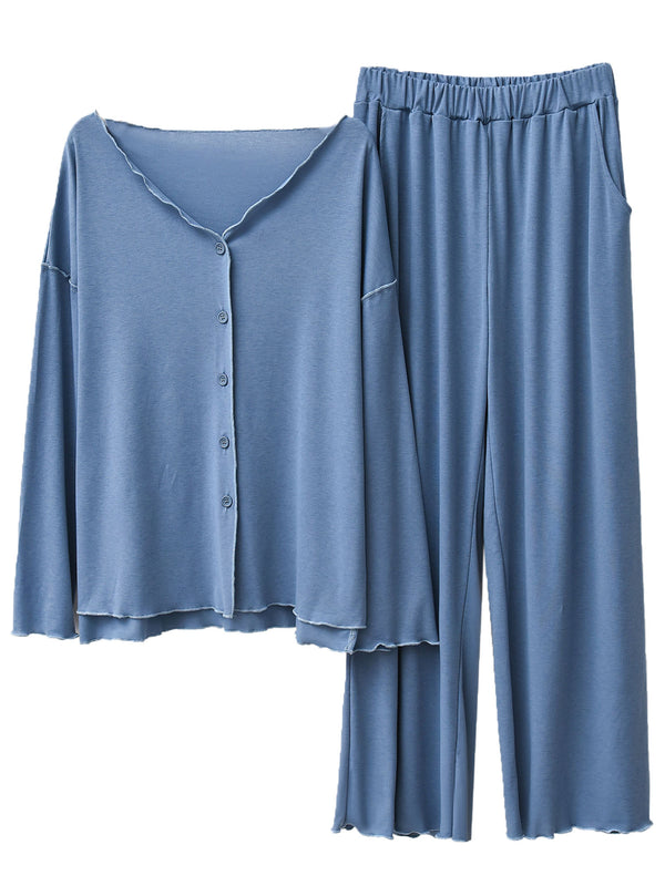 'Jillian' V Neck Button Down PJ Set (4 Colors)