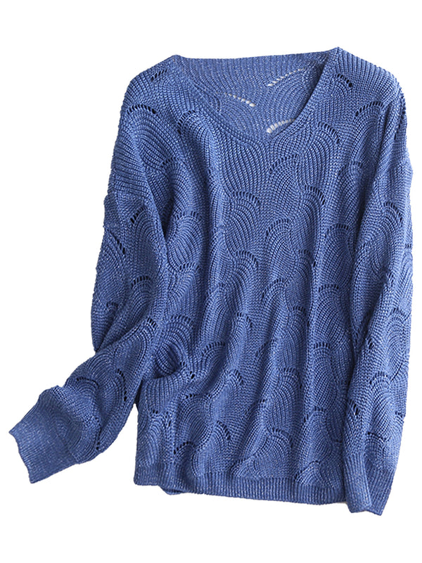 'Mandy' Wave Punch Hole V-Neck Sweater (3 Colors)