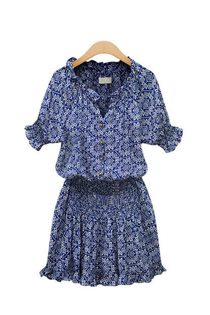 Bohemian Print Empire Waist Cotton Dress - Goodnight Macaroon