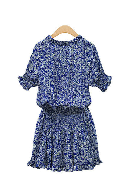 Bohemian Print Empire Waist Cotton Dress