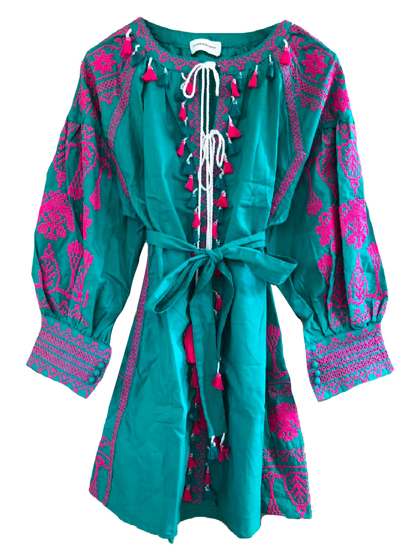 Goodnight Macaroon 'Barney' Boho Embroidered Tassels Tunic Dress Green Front