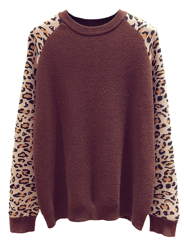'Rebecca' Leopard Sleeve Crewneck Sweater (3 Colors)