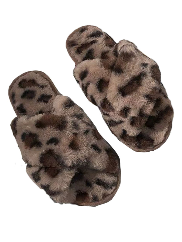 'Jennifer' Leopard Print Criss Cross Faux Fur Slippers (4 Colors)