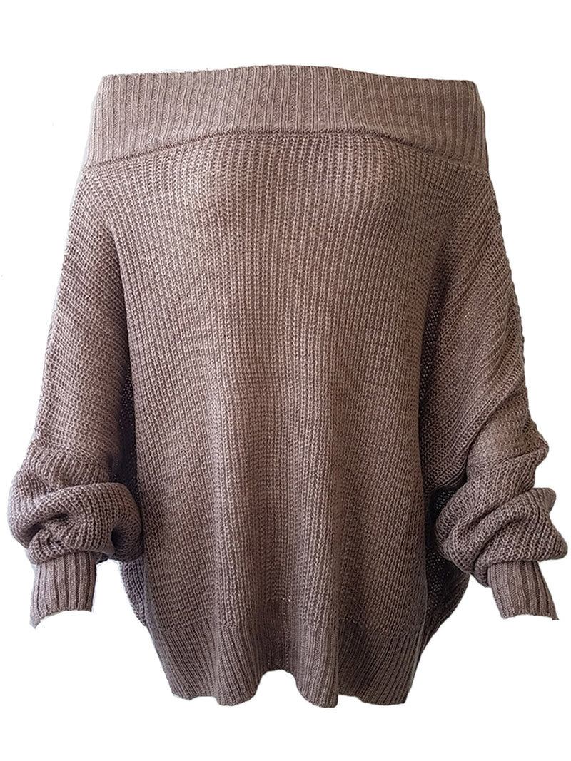 'Nana' Off The Shoulder Loose Knit Slouchy Sweater (5 Colors)