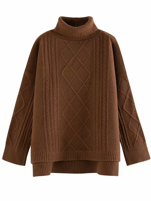 'Phoebe' Roll Neck Soft Pattern Sweater (5 Colors)