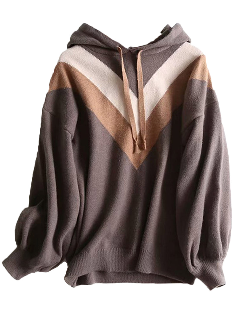 'Yara' V Pattern Hooded Sweater (2 Colors)