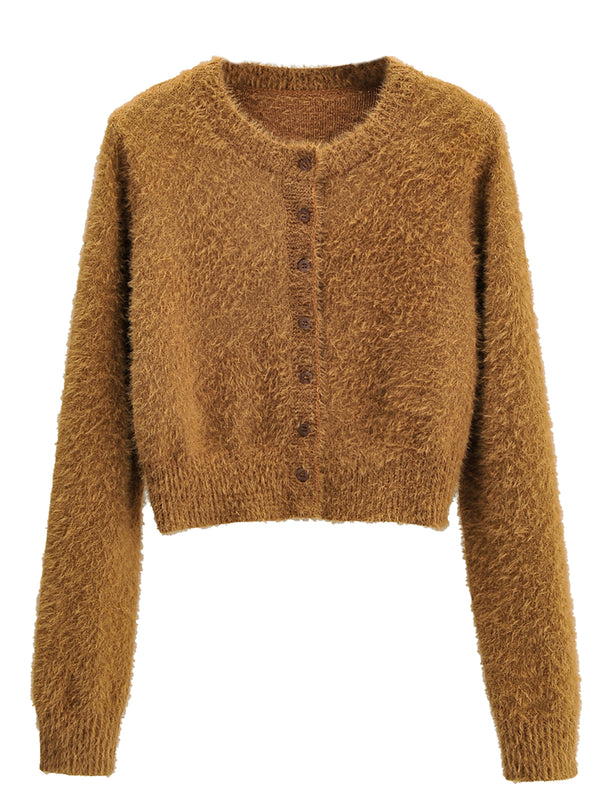 'Dior' Fuzzy Button Down Cropped Cardigan (4 Colors)