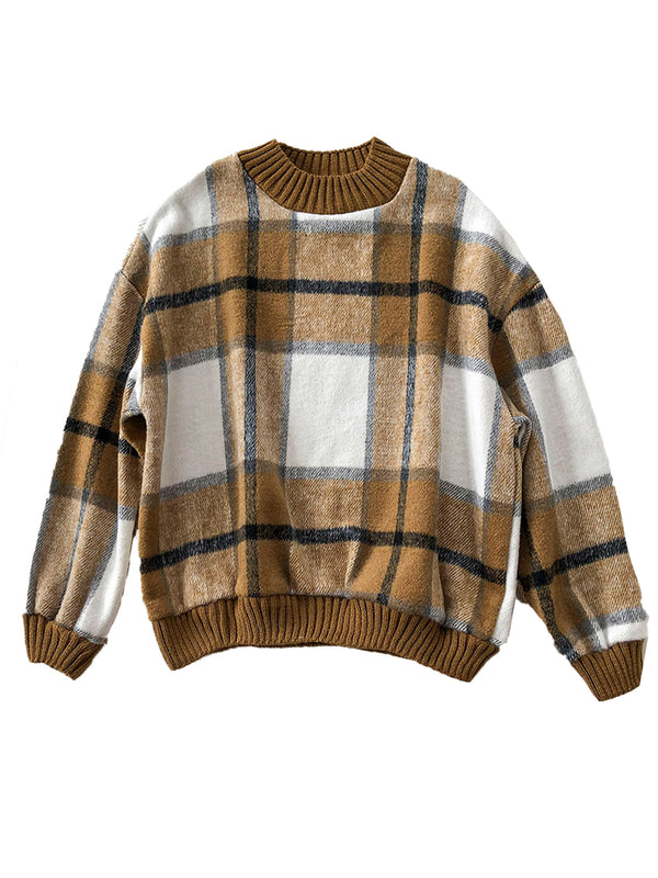 'Johanna' Thick Plaid Crewneck Sweater (3 Colors)