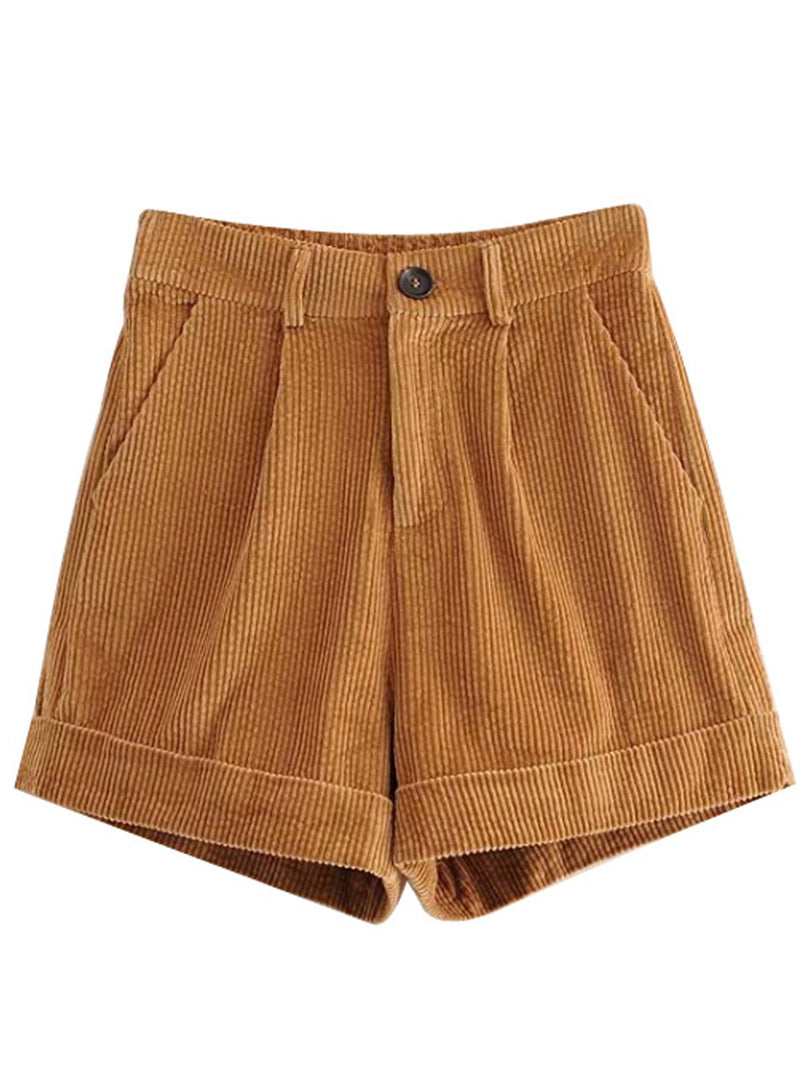 'Emani' Corduroy Folded Hem Shorts (2 Colors)
