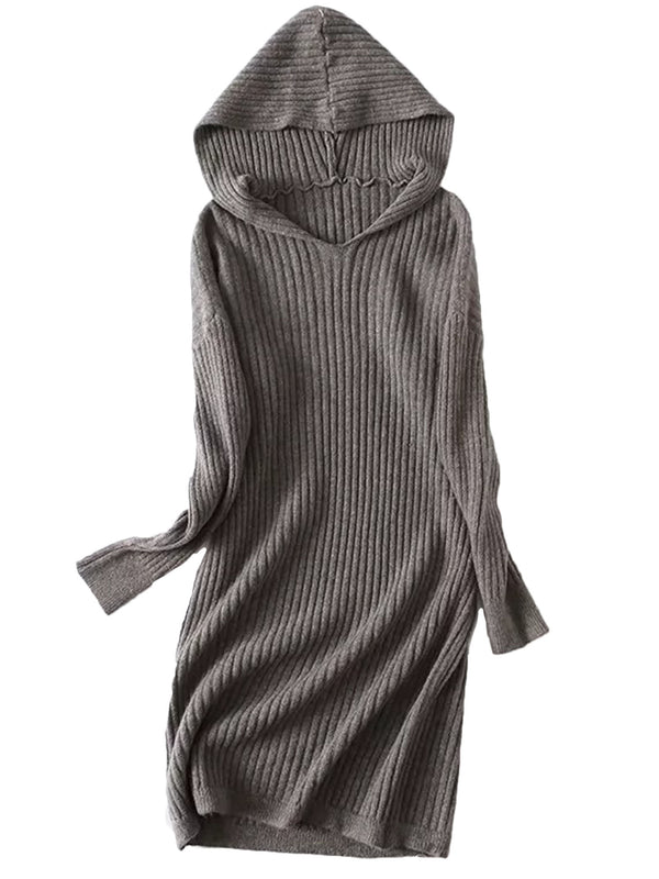 'Esther' Ribbed Long Sweater Dress with Hood (3 Colors)