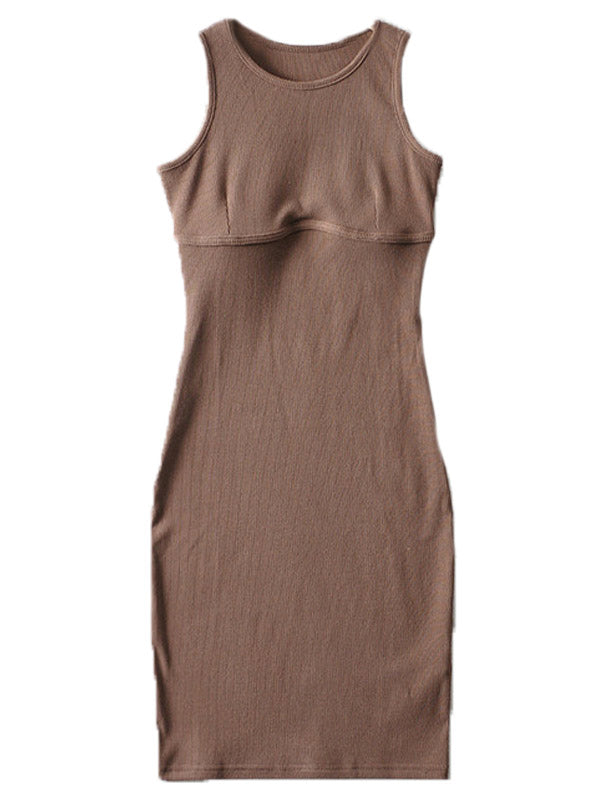'Heather' Bust Line Ribbed Midi Dress (4 Colors)