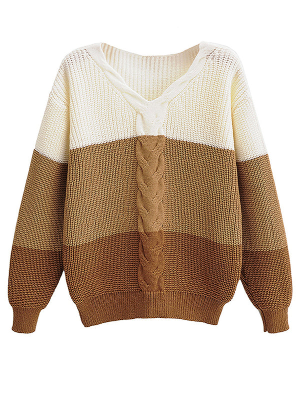 'Dylen' Cable Knit V-Neck Colorblock Sweater