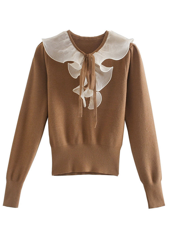 'Olivia' Camel Sweater with Frill and Bow Neck