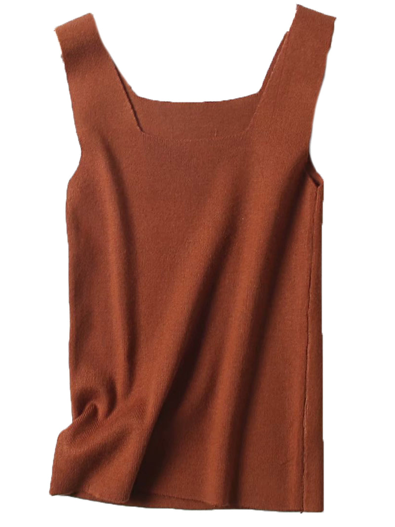 'Molly' Square Neck Knitted Tank Top (4 Colors)