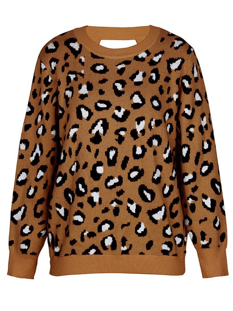 'Nadia' Leopard Print Open Back Sweater (4 Colors)