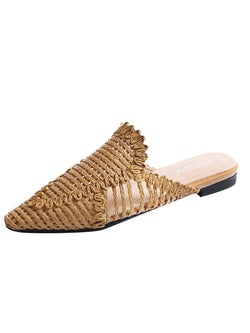 'Charlotte' Woven Pointed-Toe Mules (4 Colors)