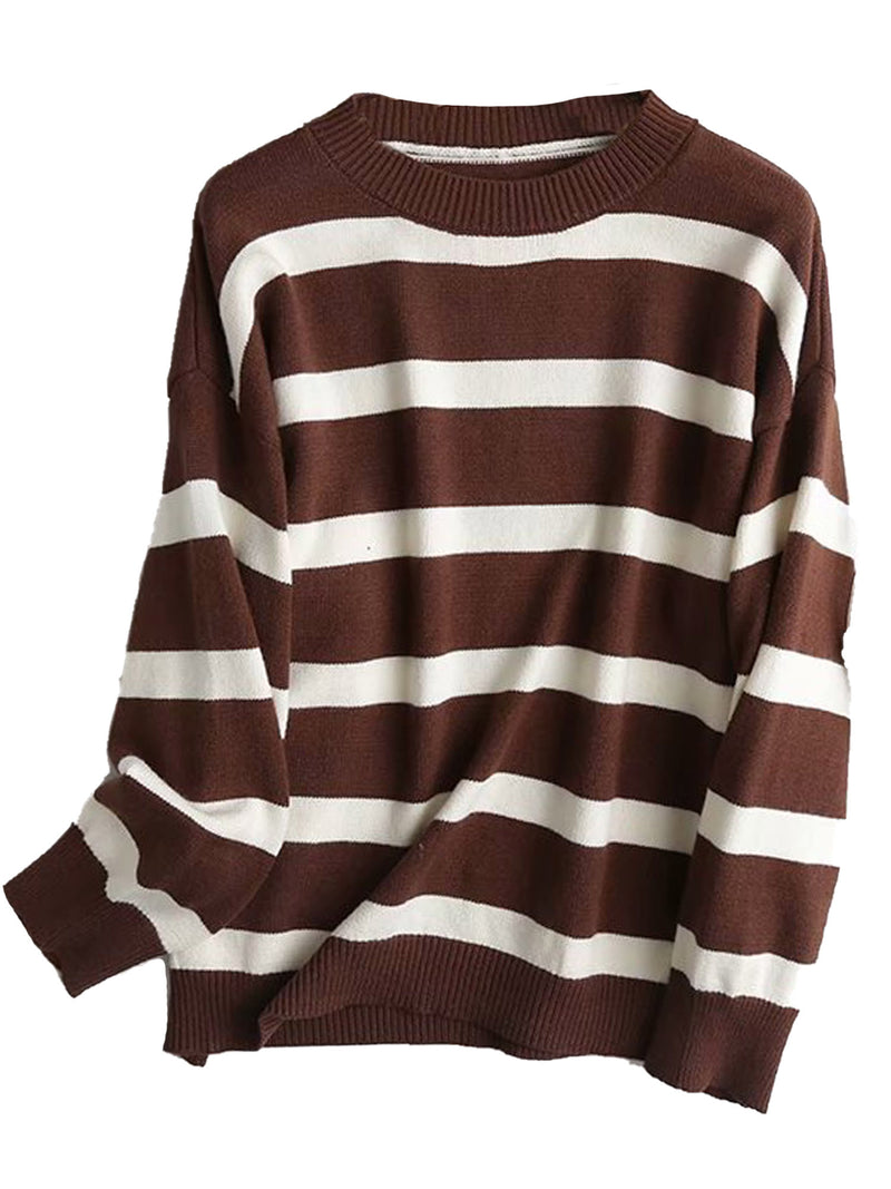 'Lindy' Crewneck Striped Soft Knit Sweater (3 Colors)