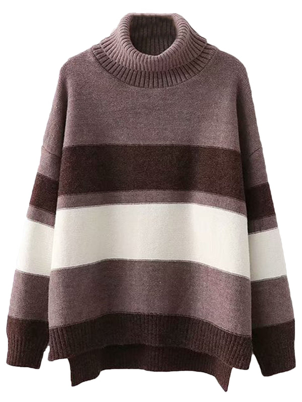 'Emma' Striped Turtleneck Sweater (2 Colors)