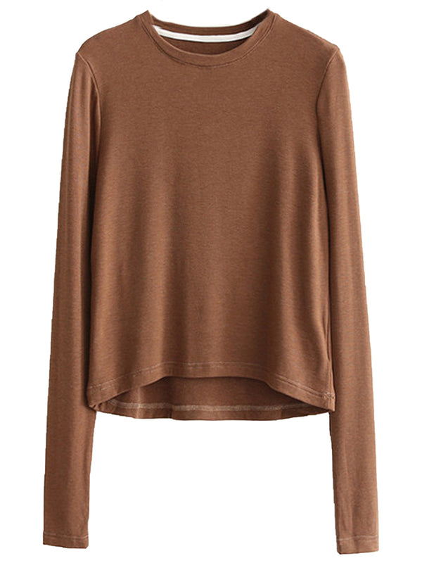 'Posie' Round Neck Basic Long Sleeves Top (4 Colors)