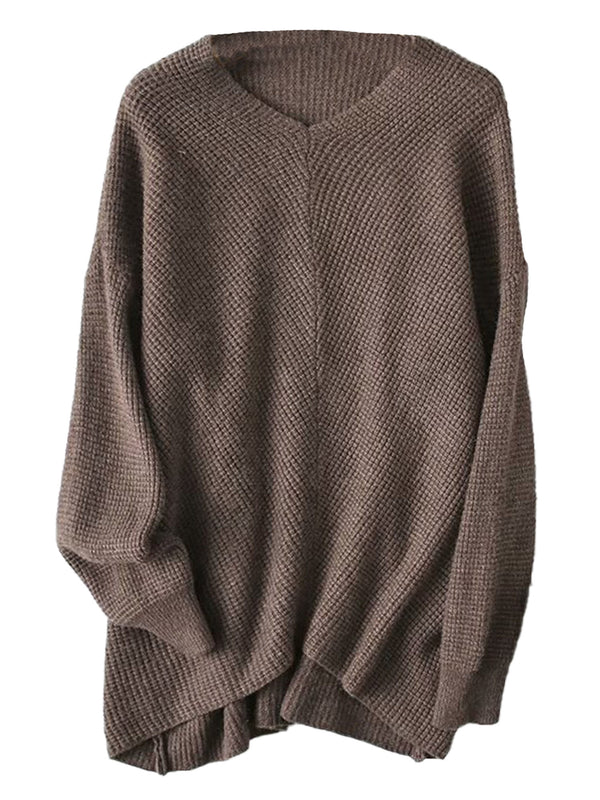 'Nadine' V-Neck Waffle Knit Long Sweater (2 Colors)