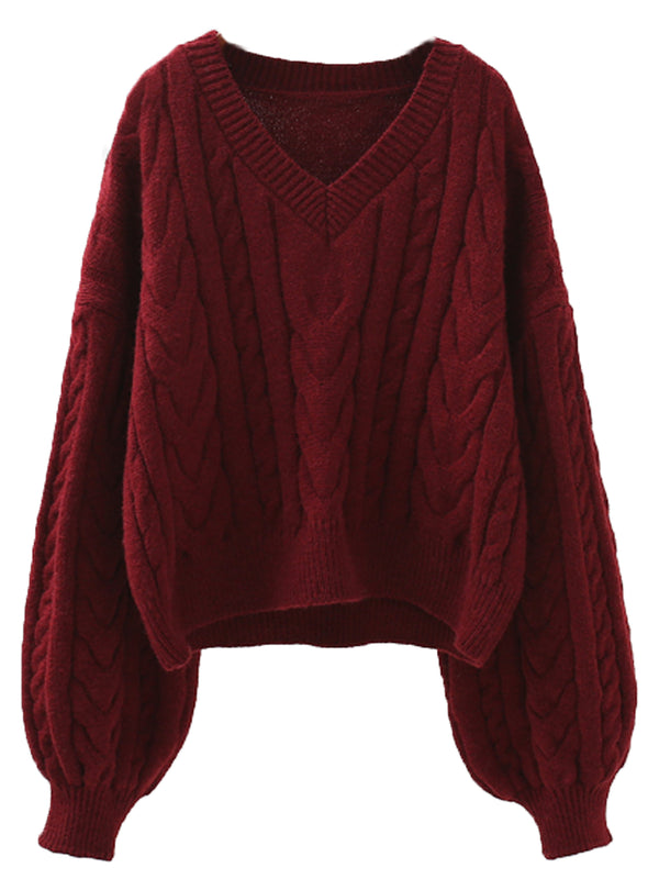 'Florence' V-neck Cable Knit Sweater (2 Colors)