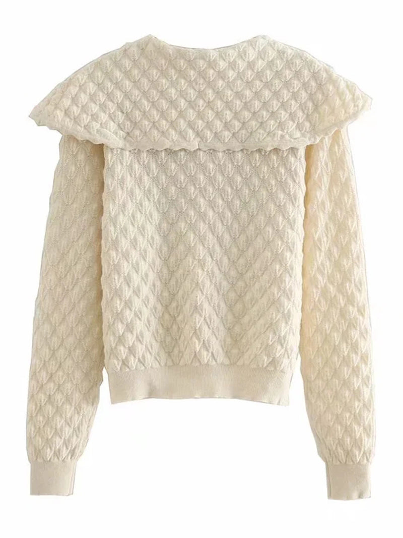'Eileen' Ribbon Collar Buttoned Cardigan