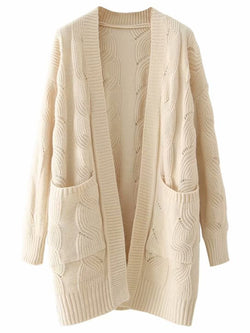 'Lucy' Cable Knit Long Open Cardigan (2 Colors)