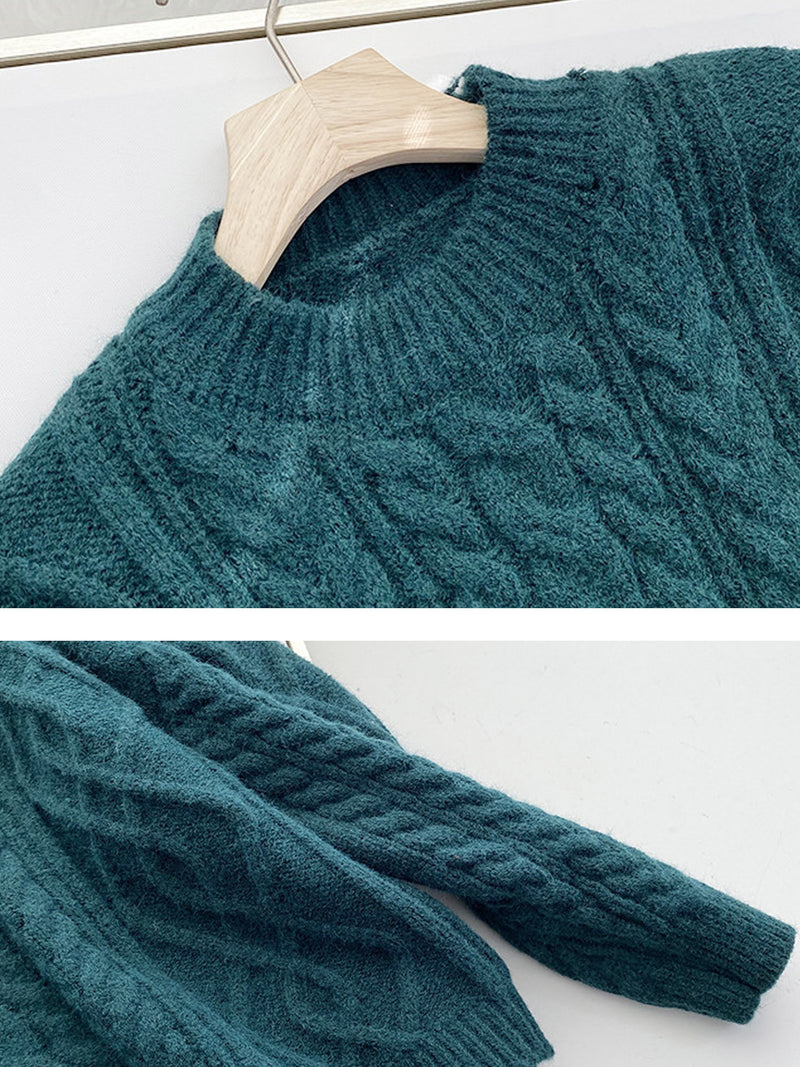 'Aria' Round Neck Cable Knit Sweater (5 Colors)