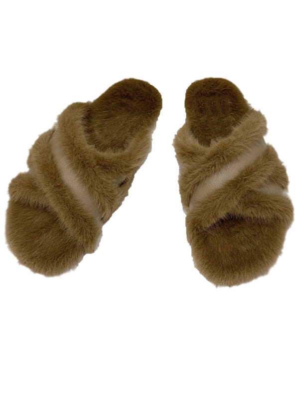 'Natalie' Criss Cross Faux Fur Slides (3 Colors)