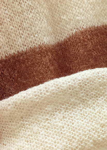 Goodnight Macaroon 'Bethany' Brown Stripes Mohair Crewneck Sweater Fabric