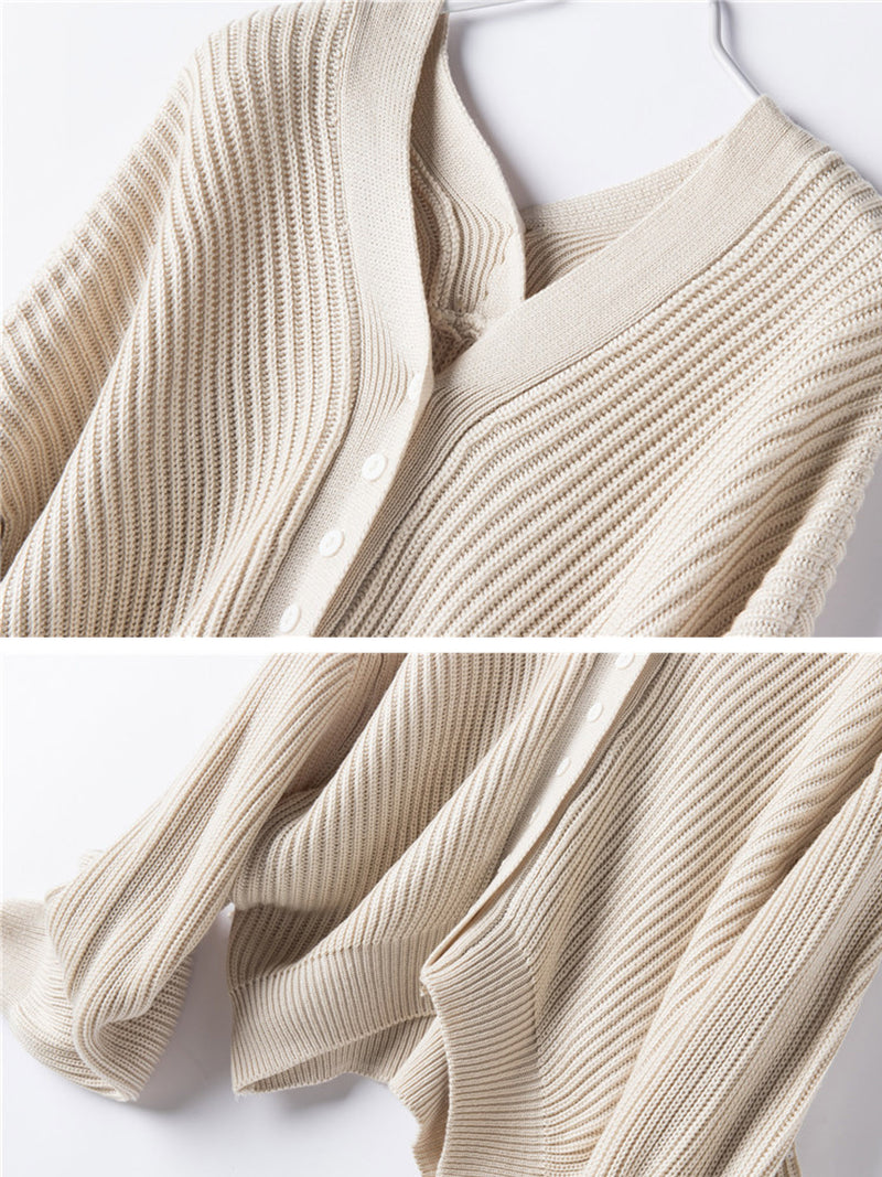 'Connie' Ribbed Knit Slouchy Button Cardigan (2 Colors)