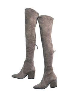 87d1f043692  Carina  Taupe Over The Knee Suede Leather Boots.