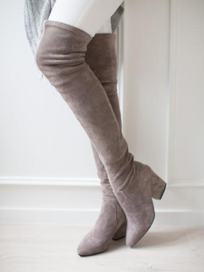 217f4cd327780  Carina  Taupe Over The Knee Suede Leather Boots.