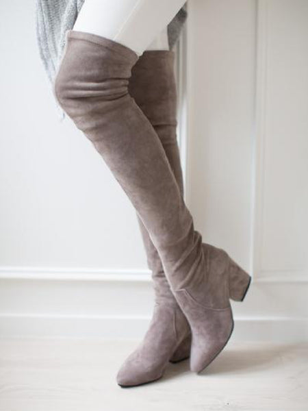 b6a1bc5f136 'Carina' Taupe Over The Knee Suede Leather Boots